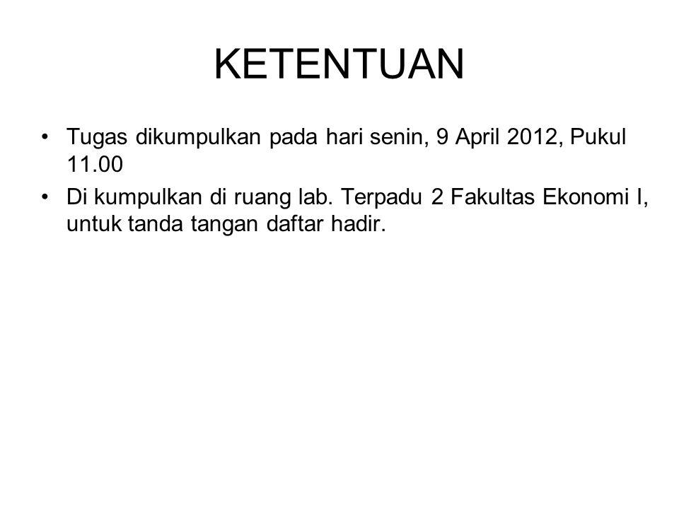 KETENTUAN Tugas dikumpulkan pada hari senin, 9 April 2012, Pukul 11.00