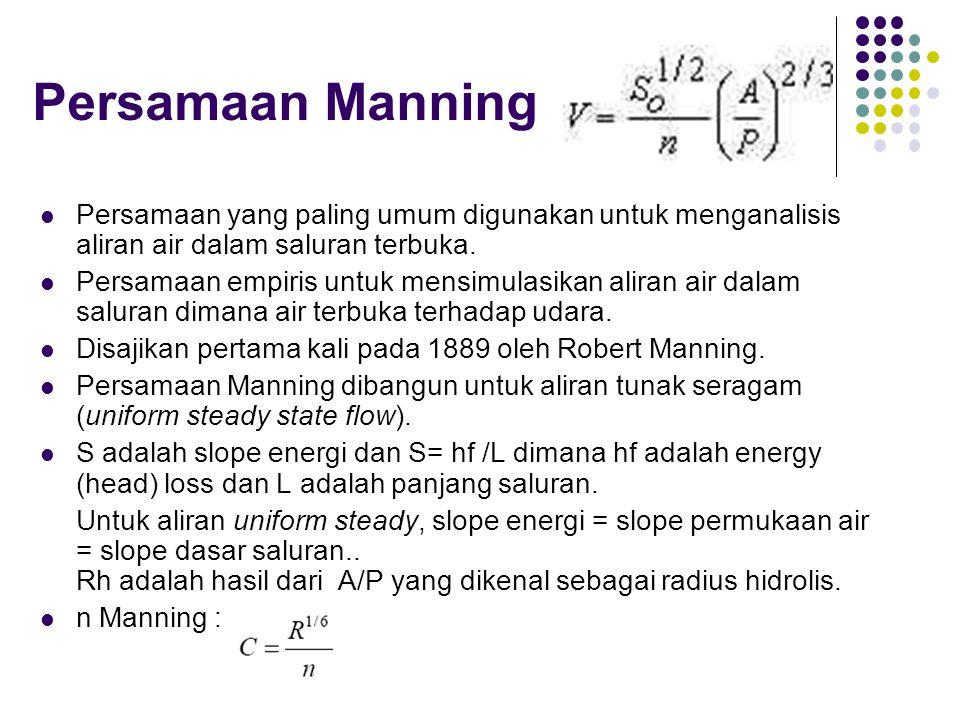 Persamaan Manning Persamaan yang paling umum digunakan untuk menganalisis aliran air dalam saluran terbuka.
