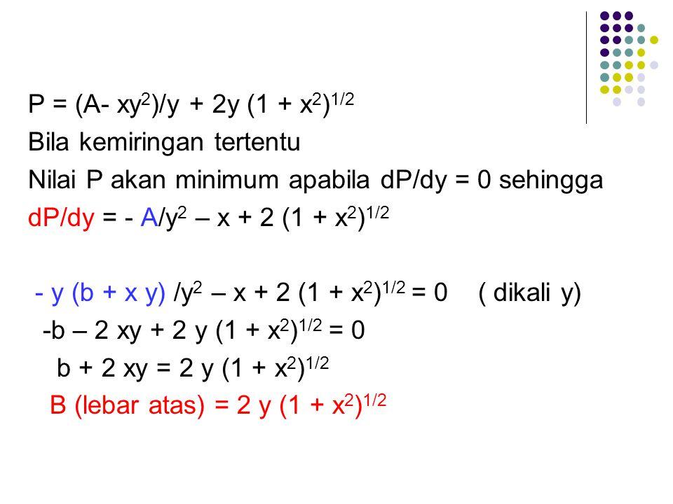 P = (A- xy2)/y + 2y (1 + x2)1/2 Bila kemiringan tertentu. Nilai P akan minimum apabila dP/dy = 0 sehingga.