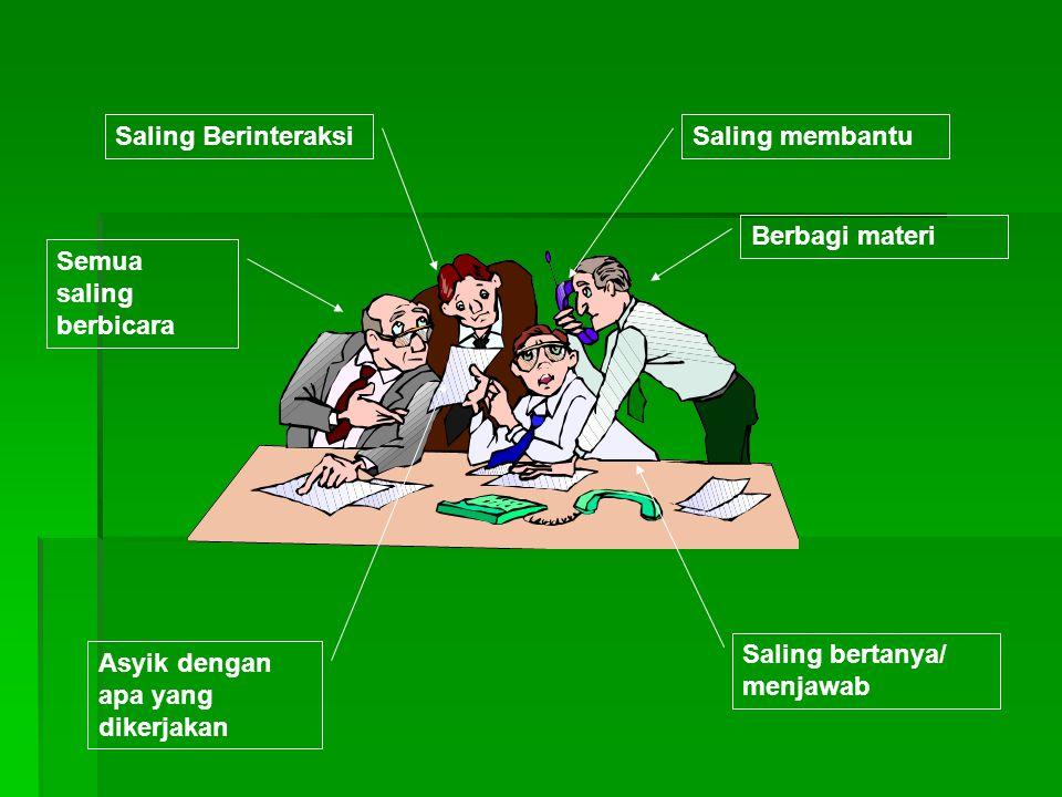 Saling Berinteraksi Saling membantu. Berbagi materi. Semua saling berbicara. Saling bertanya/ menjawab.