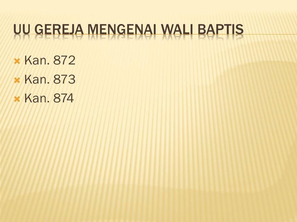 UU Gereja Mengenai Wali Baptis