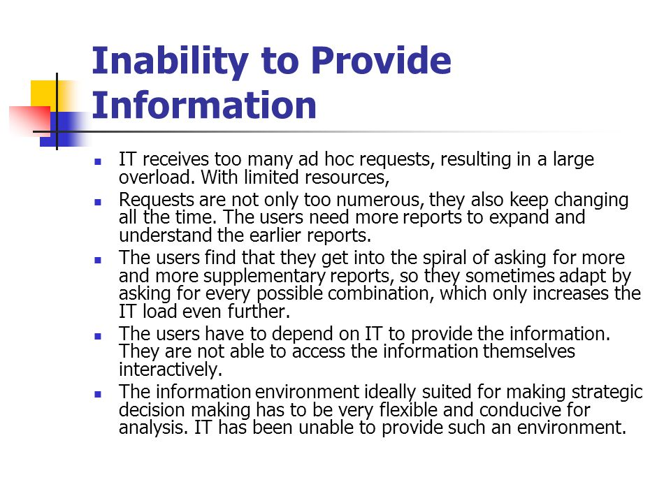 Inability to Provide Information