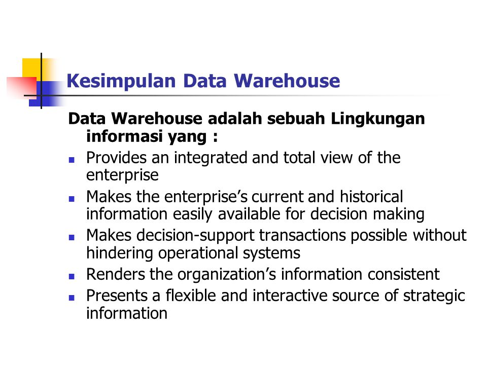 Kesimpulan Data Warehouse