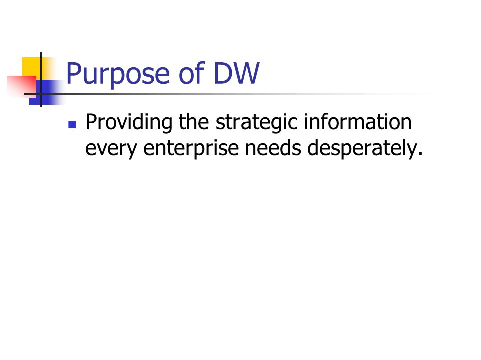 Purpose of DW Providing the strategic information every enterprise needs desperately.