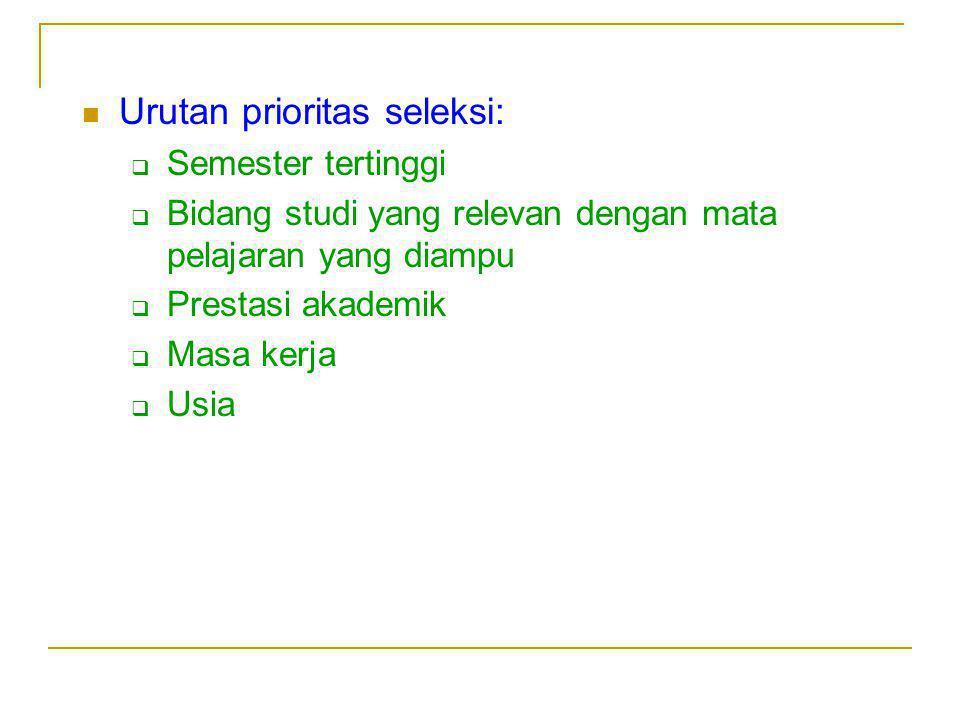 Urutan prioritas seleksi: