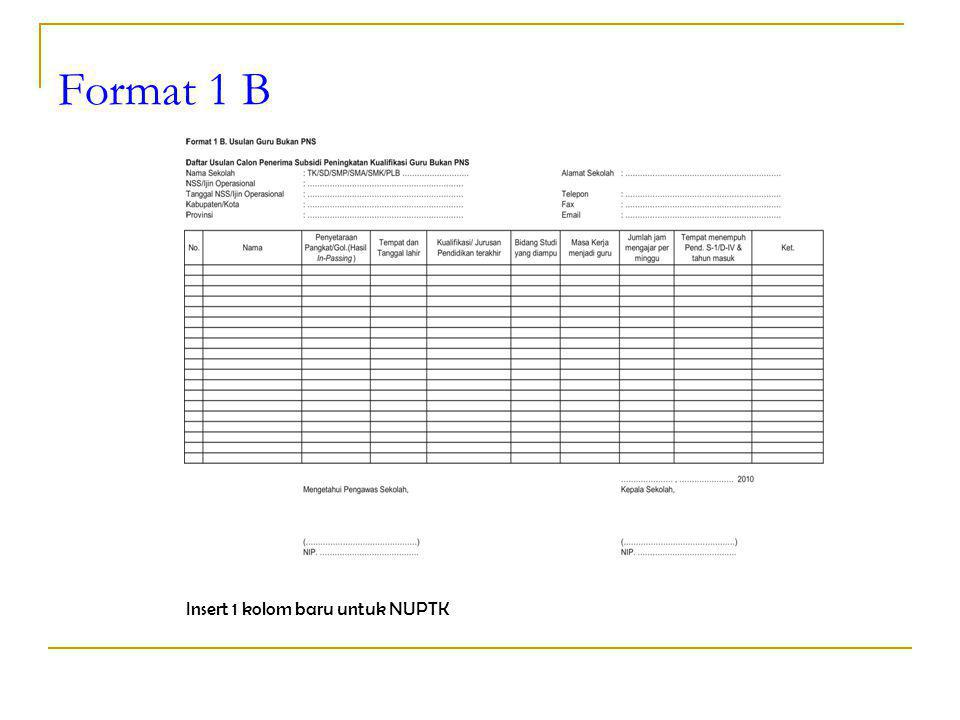 Format 1 B Insert 1 kolom baru untuk NUPTK