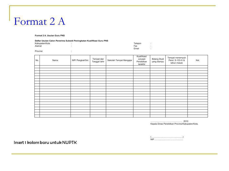 Format 2 A Insert 1 kolom baru untuk NUPTK