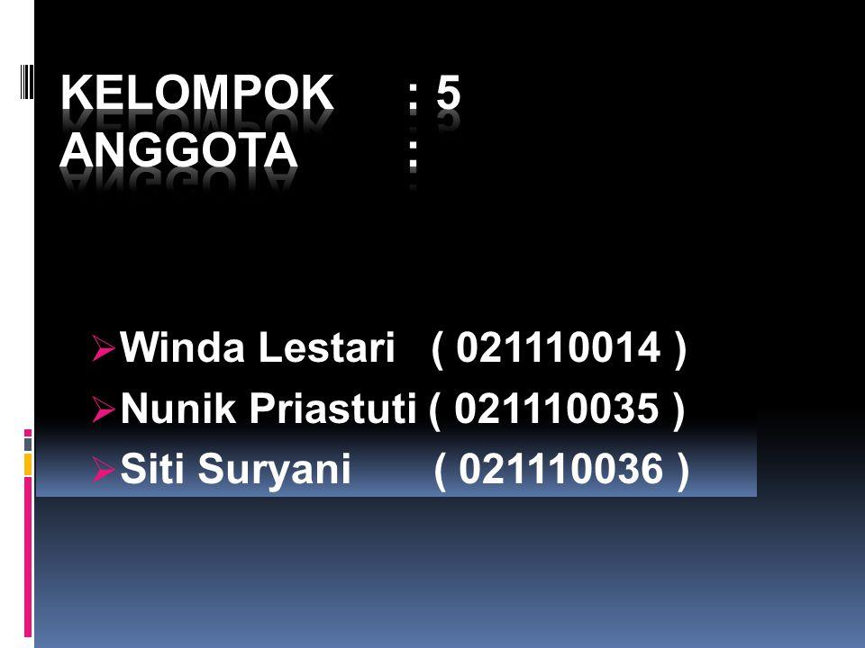 Kelompok : 5 Anggota : Winda Lestari ( 021110014 )