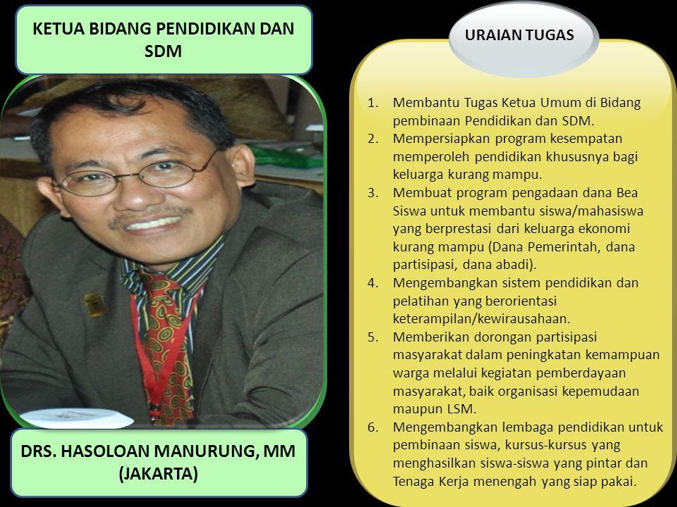 KETUA BIDANG PENDIDIKAN DAN SDM DRS. HASOLOAN MANURUNG, MM (JAKARTA)