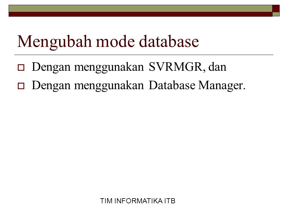 Mengubah mode database