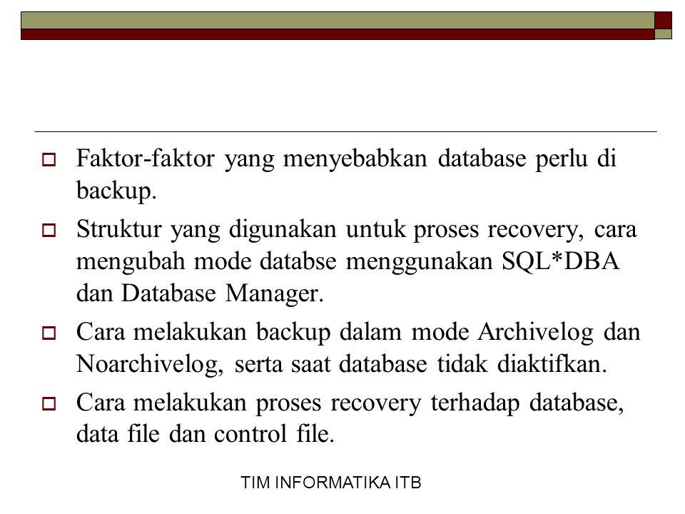 Faktor-faktor yang menyebabkan database perlu di backup.
