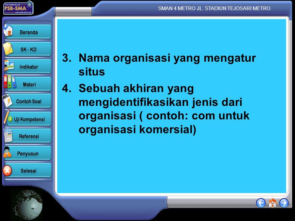Nama organisasi yang mengatur situs