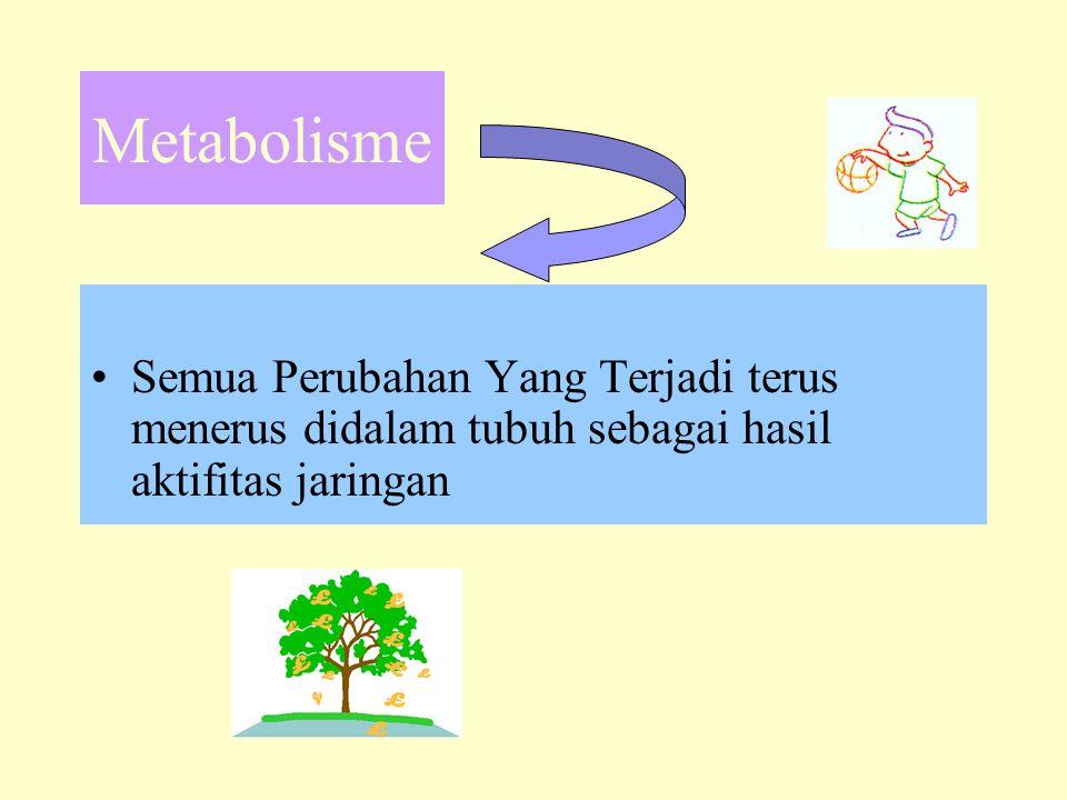 Metabolisme Semua Perubahan Yang Terjadi terus menerus didalam tubuh sebagai hasil aktifitas jaringan.