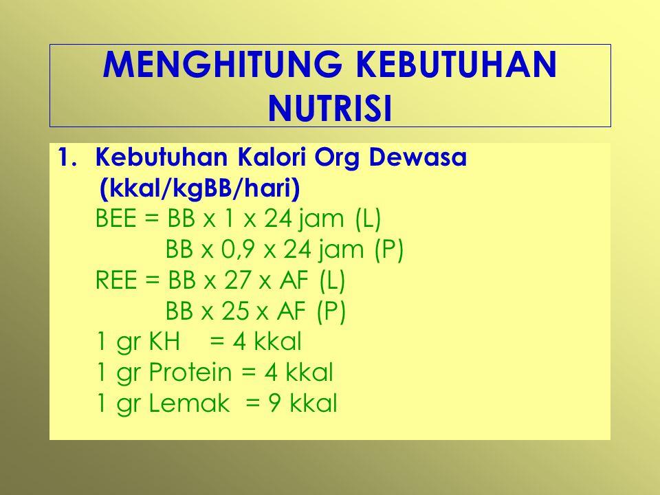 MENGHITUNG KEBUTUHAN NUTRISI