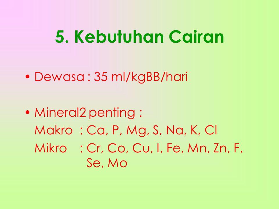 5. Kebutuhan Cairan Dewasa : 35 ml/kgBB/hari Mineral2 penting :
