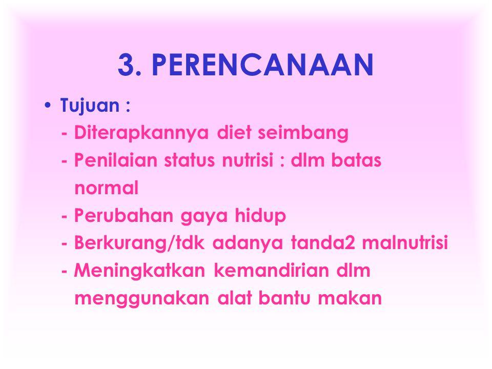 3. PERENCANAAN Tujuan : - Diterapkannya diet seimbang