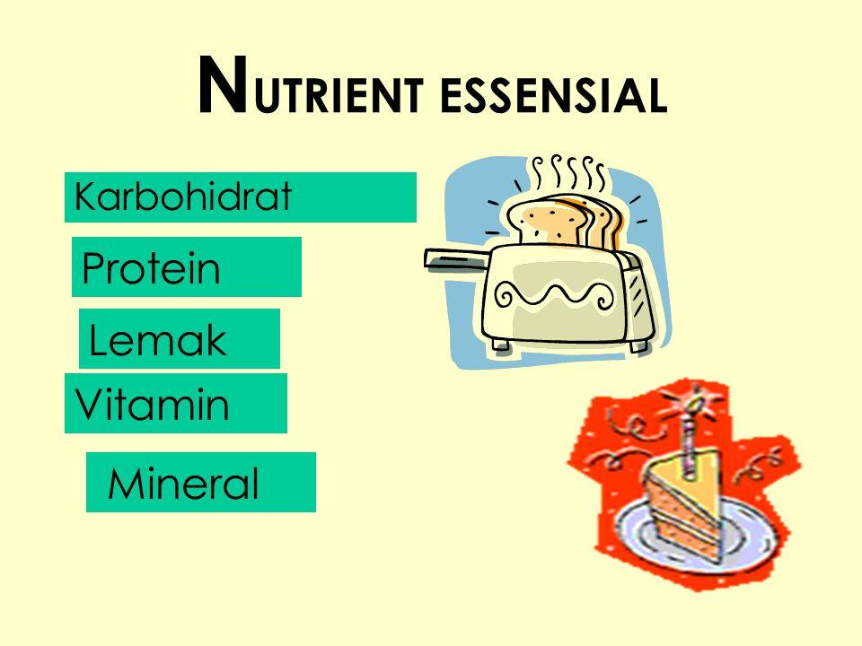 NUTRIENT ESSENSIAL Karbohidrat Protein Lemak Vitamin Mineral