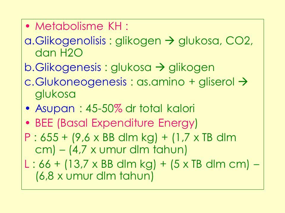 Metabolisme KH : Glikogenolisis : glikogen  glukosa, CO2, dan H2O. Glikogenesis : glukosa  glikogen.
