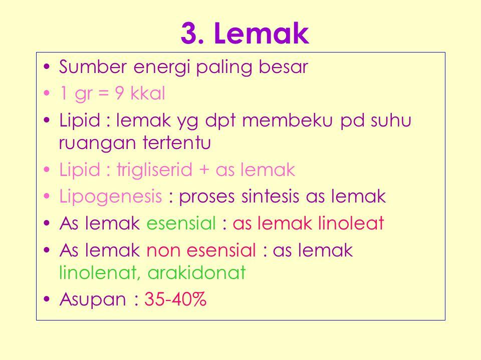 3. Lemak Sumber energi paling besar 1 gr = 9 kkal