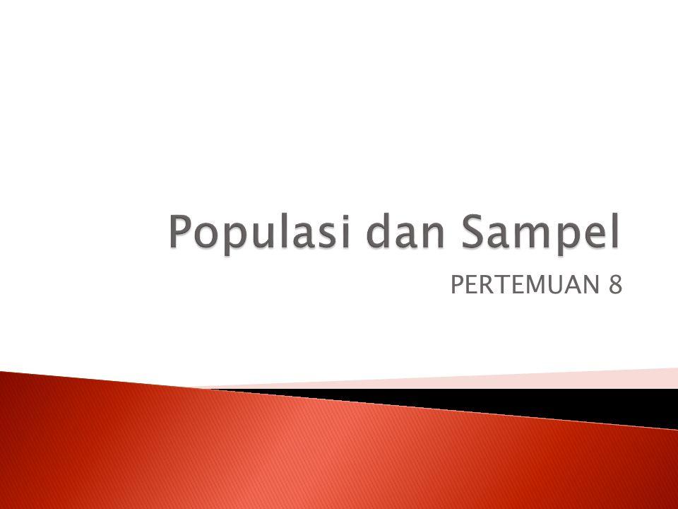 Populasi dan Sampel PERTEMUAN 8