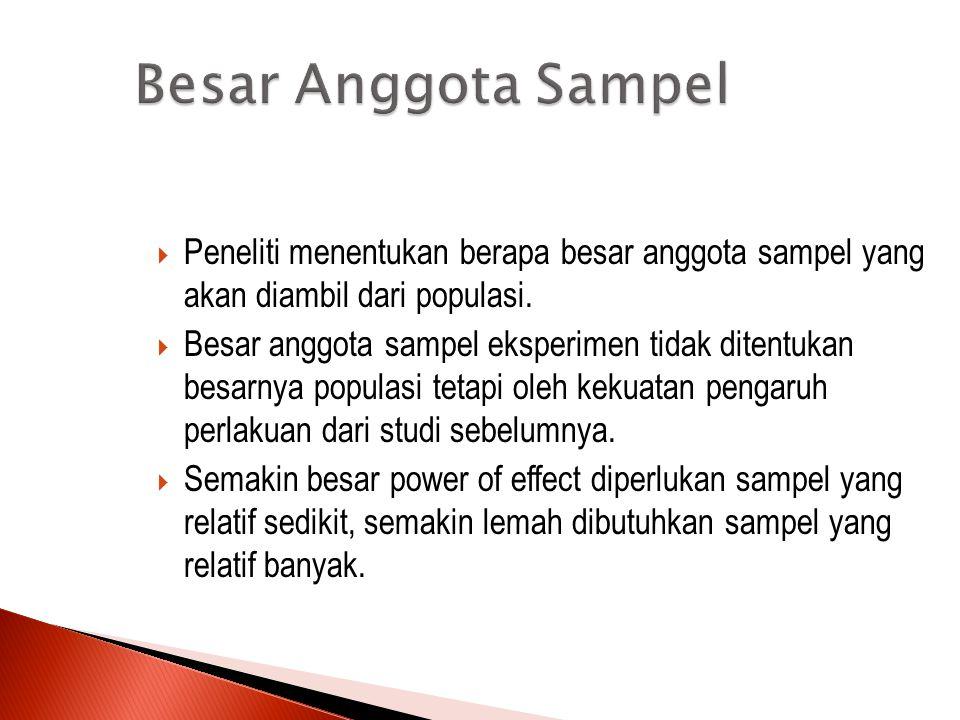 Besar Anggota Sampel Peneliti menentukan berapa besar anggota sampel yang akan diambil dari populasi.
