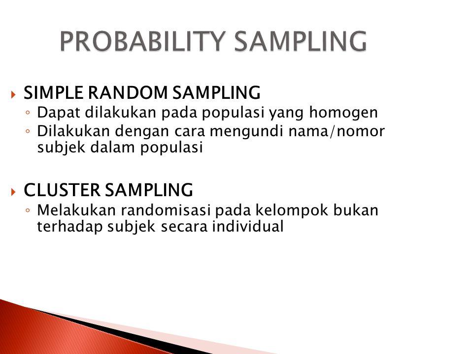 PROBABILITY SAMPLING SIMPLE RANDOM SAMPLING CLUSTER SAMPLING