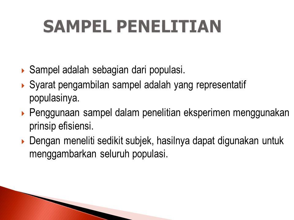 SAMPEL PENELITIAN Sampel adalah sebagian dari populasi.
