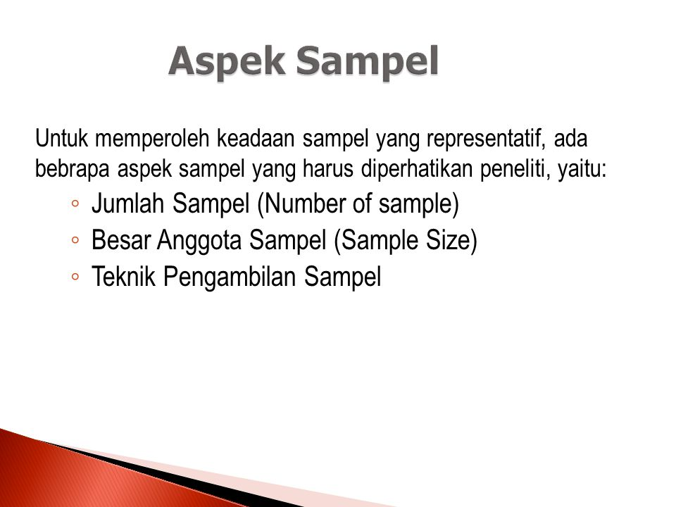Aspek Sampel Jumlah Sampel (Number of sample)