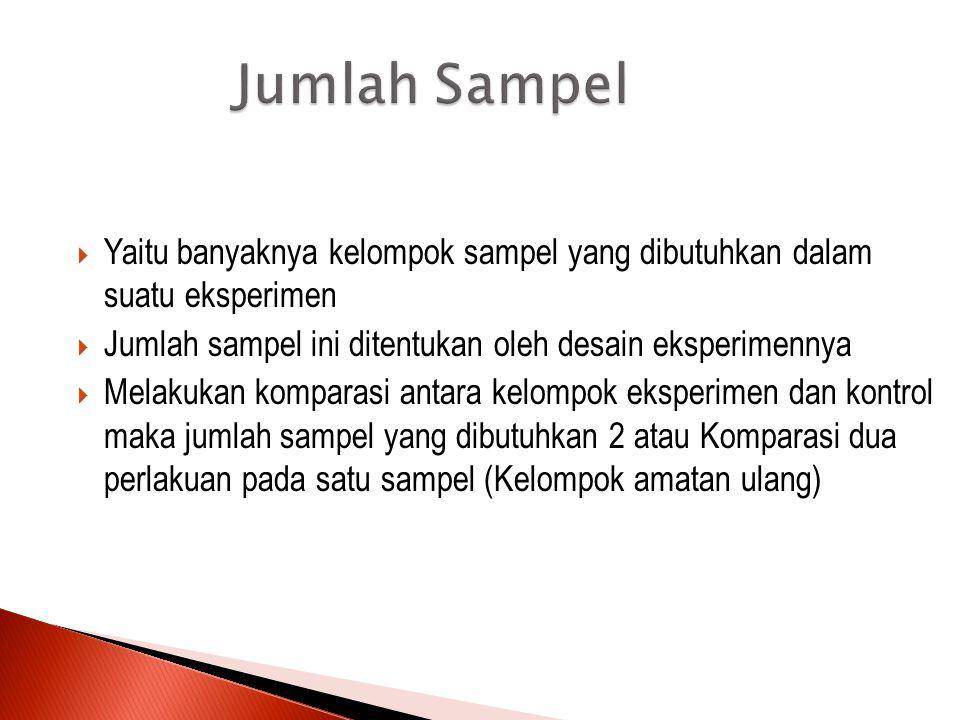 Jumlah Sampel Yaitu banyaknya kelompok sampel yang dibutuhkan dalam suatu eksperimen. Jumlah sampel ini ditentukan oleh desain eksperimennya.
