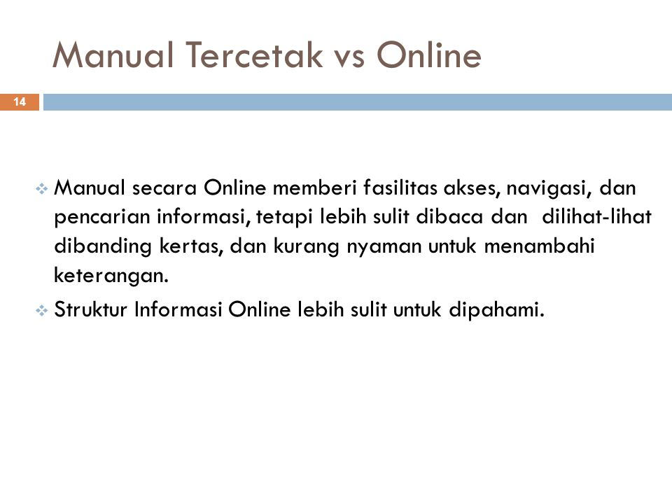 Manual Tercetak vs Online
