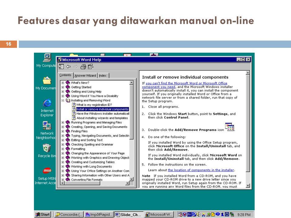 Features dasar yang ditawarkan manual on-line