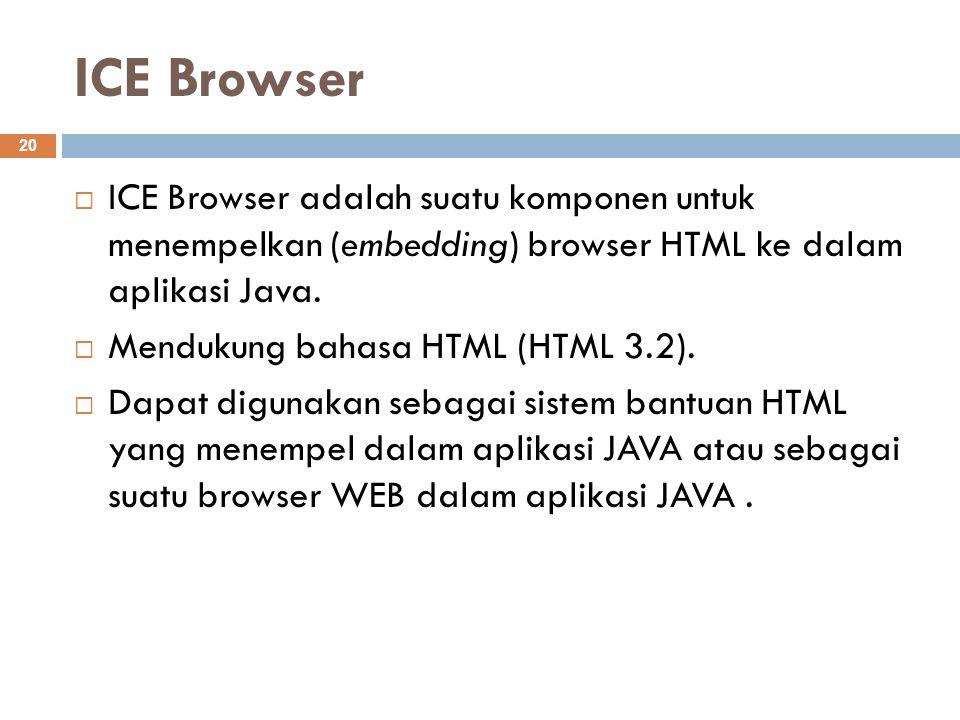 ICE Browser ICE Browser adalah suatu komponen untuk menempelkan (embedding) browser HTML ke dalam aplikasi Java.