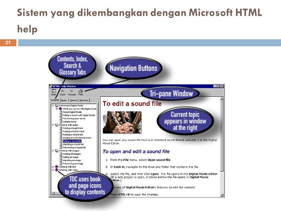 Sistem yang dikembangkan dengan Microsoft HTML help