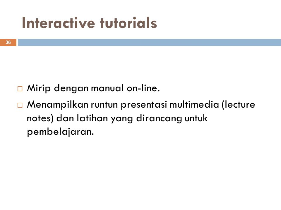 Interactive tutorials