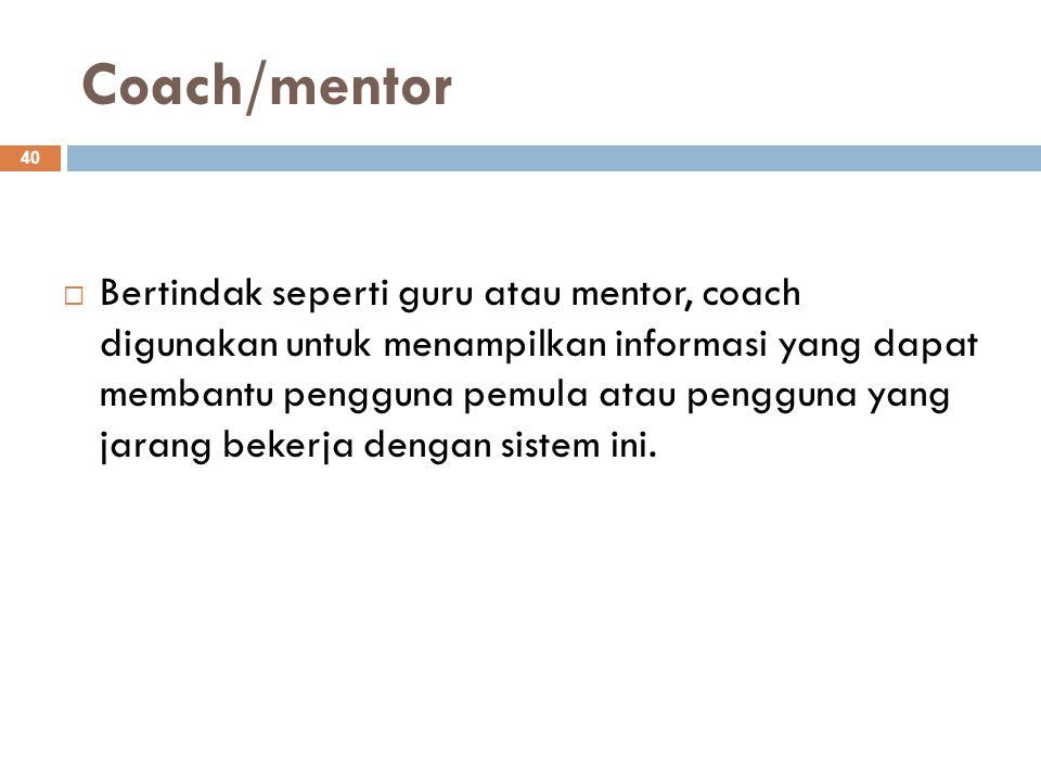 Coach/mentor