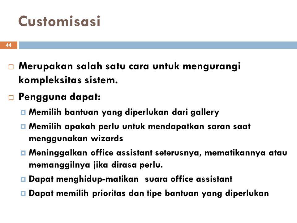 Customisasi Merupakan salah satu cara untuk mengurangi kompleksitas sistem. Pengguna dapat: Memilih bantuan yang diperlukan dari gallery.