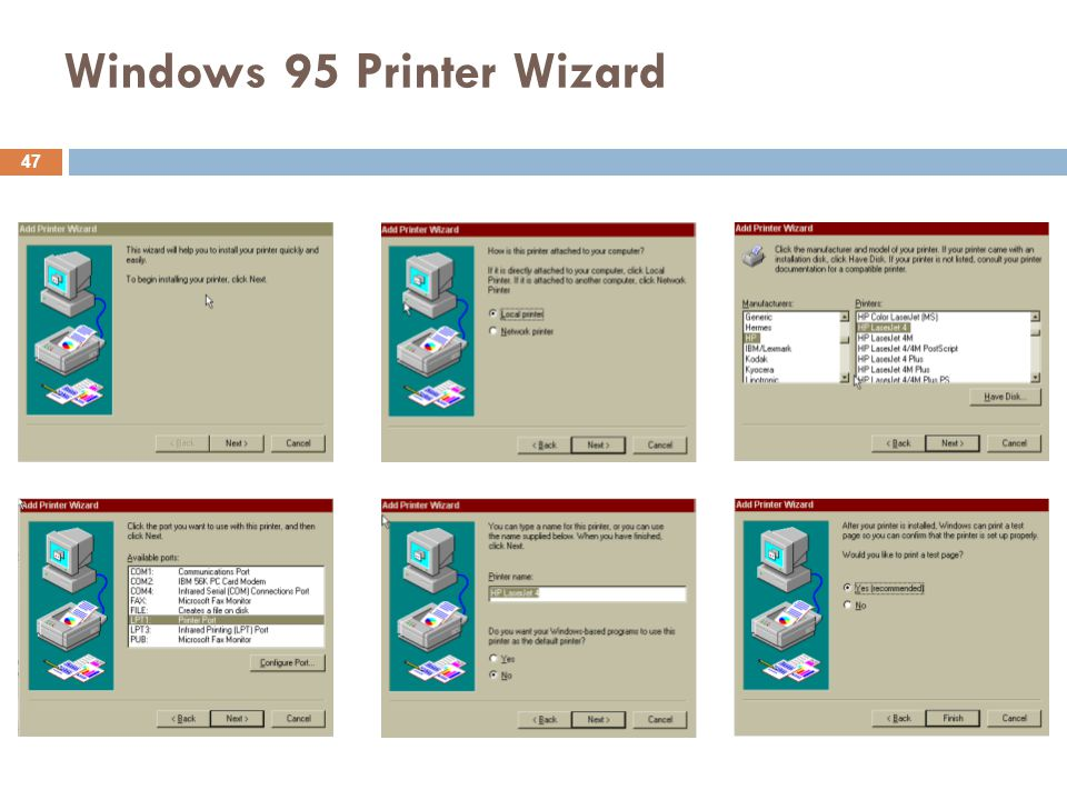 Windows 95 Printer Wizard