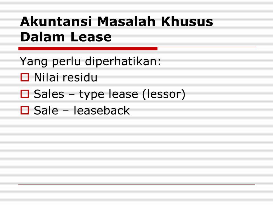 Akuntansi Masalah Khusus Dalam Lease