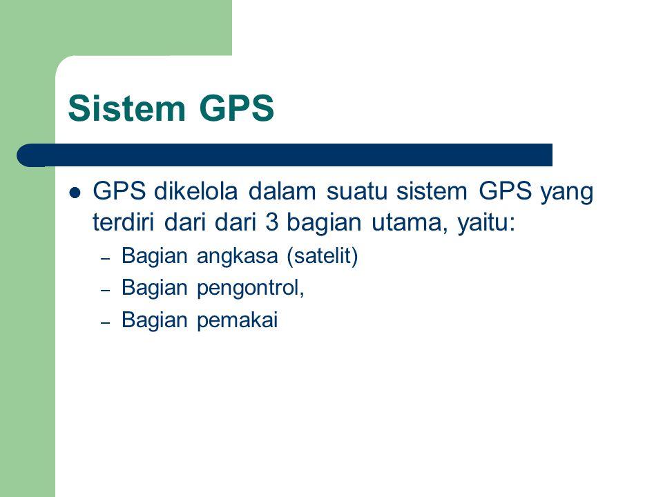 Sistem GPS GPS dikelola dalam suatu sistem GPS yang terdiri dari dari 3 bagian utama, yaitu: Bagian angkasa (satelit)