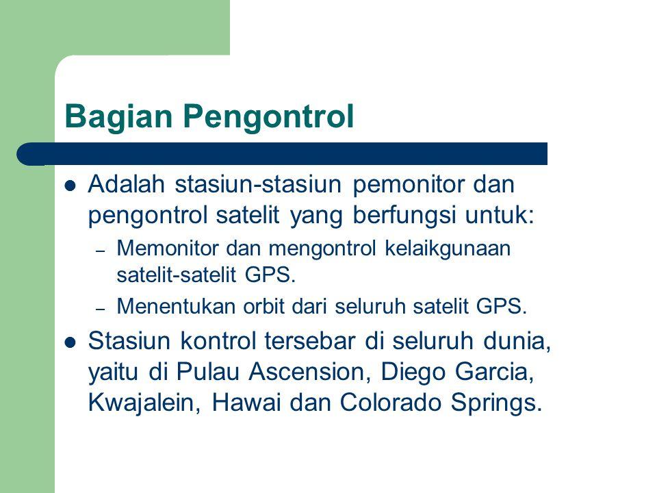 Bagian Pengontrol Adalah stasiun-stasiun pemonitor dan pengontrol satelit yang berfungsi untuk: