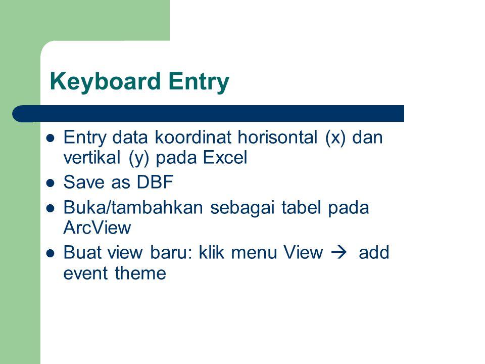 Keyboard Entry Entry data koordinat horisontal (x) dan vertikal (y) pada Excel. Save as DBF. Buka/tambahkan sebagai tabel pada ArcView.
