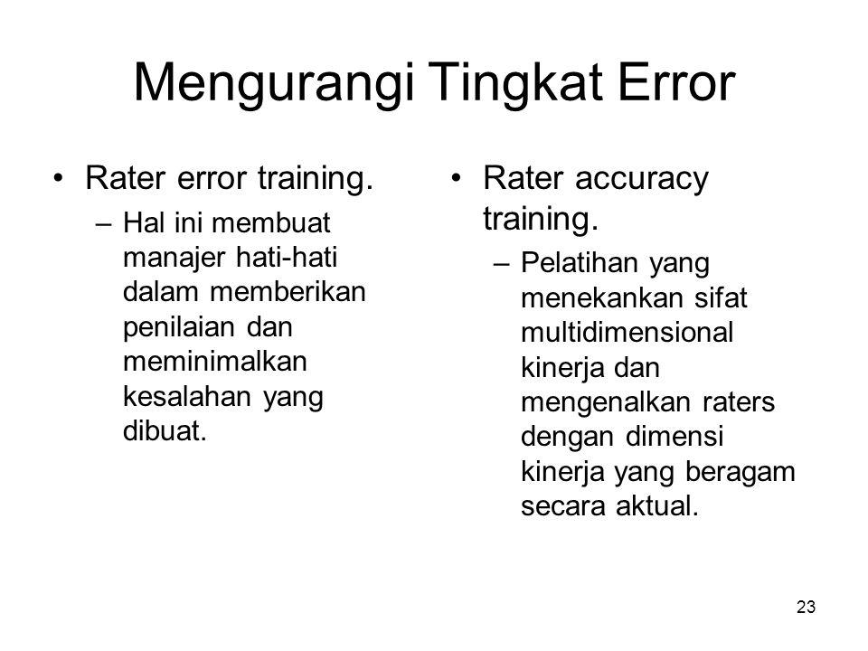 Mengurangi Tingkat Error
