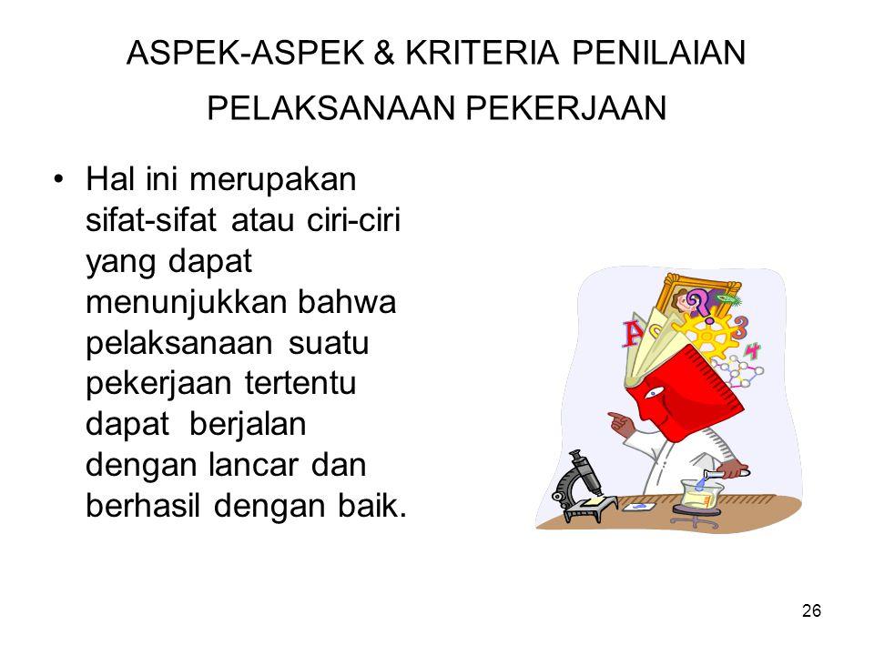 ASPEK-ASPEK & KRITERIA PENILAIAN PELAKSANAAN PEKERJAAN