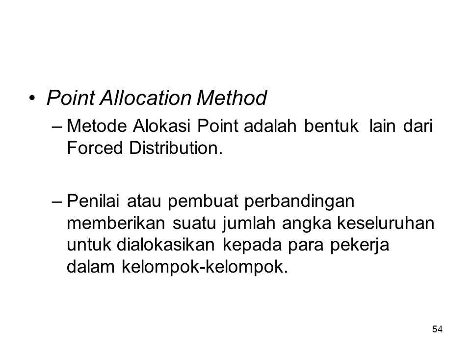 Point Allocation Method