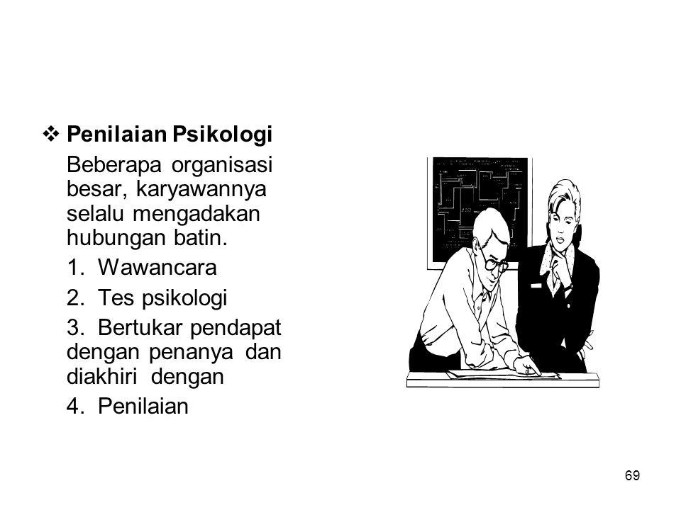Penilaian Psikologi Beberapa organisasi besar, karyawannya selalu mengadakan hubungan batin. 1. Wawancara.