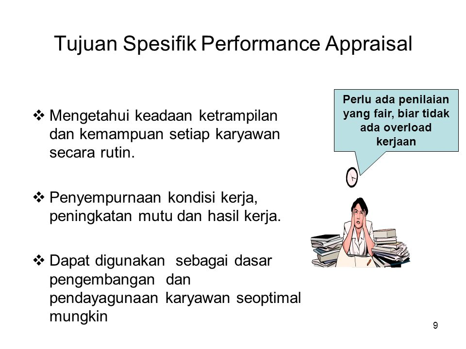 Tujuan Spesifik Performance Appraisal