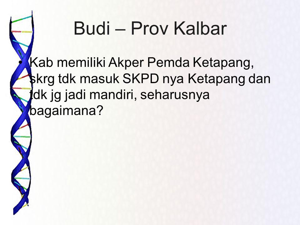 Budi – Prov Kalbar Kab memiliki Akper Pemda Ketapang, skrg tdk masuk SKPD nya Ketapang dan tdk jg jadi mandiri, seharusnya bagaimana