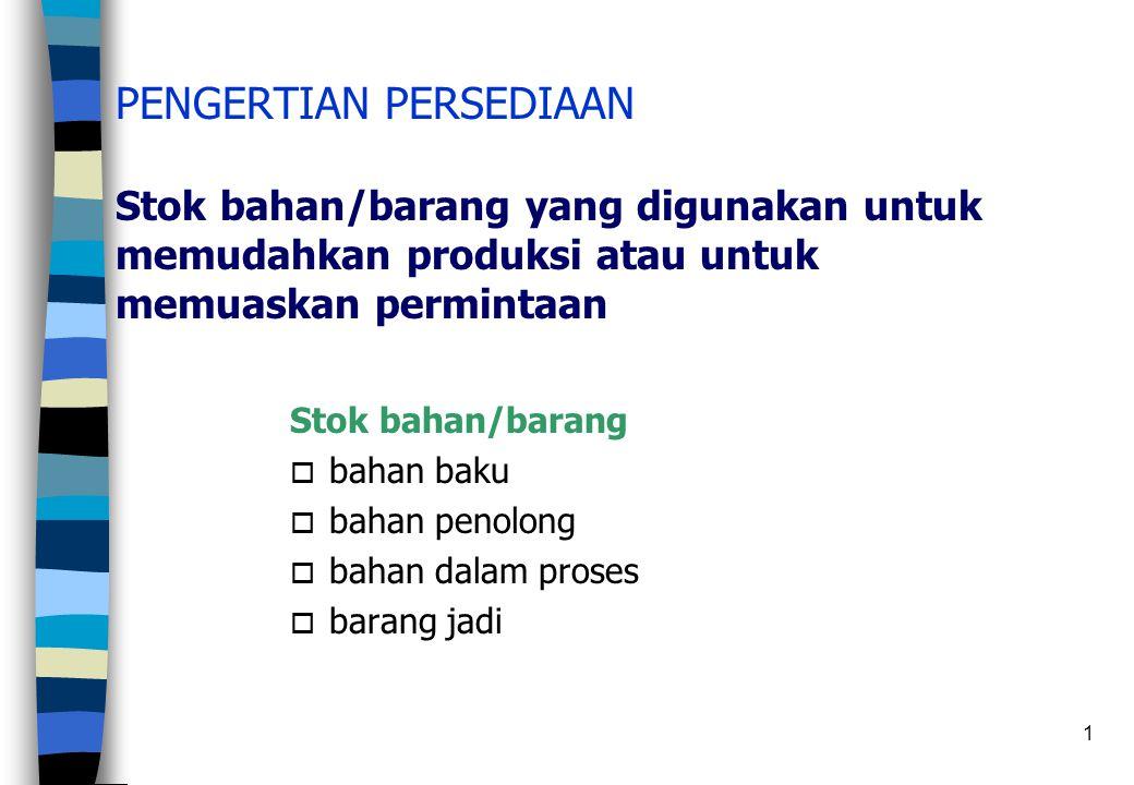 PENGERTIAN PERSEDIAAN Stok bahan/barang yang digunakan untuk memudahkan produksi atau untuk memuaskan permintaan