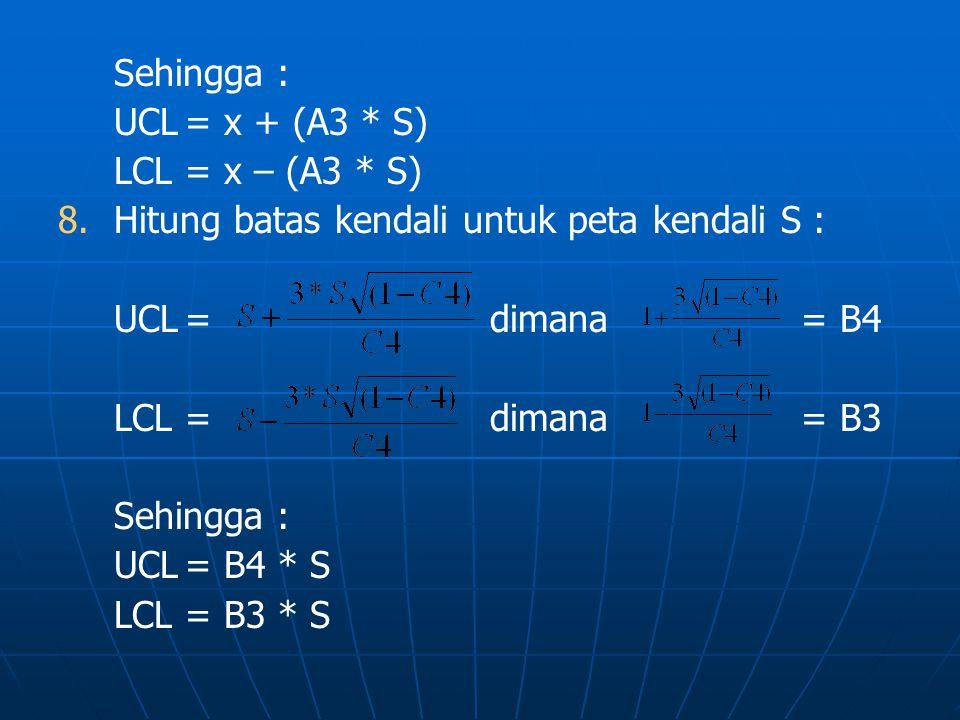 Sehingga : UCL = x + (A3 * S) LCL = x – (A3 * S) Hitung batas kendali untuk peta kendali S : UCL = dimana = B4.