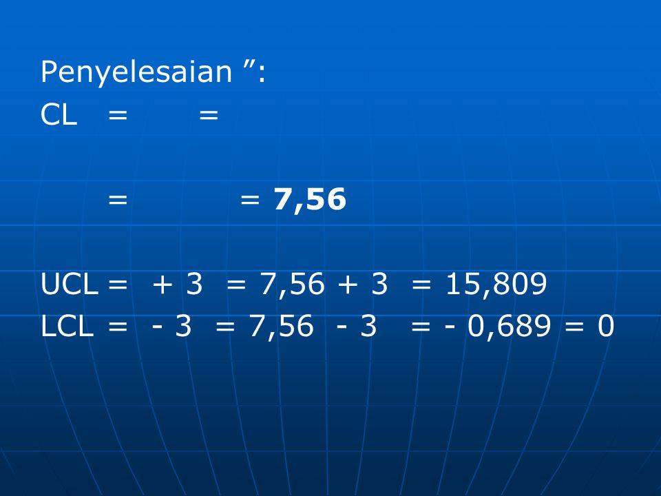 Penyelesaian : CL = = = = 7,56. UCL = + 3 = 7,56 + 3 = 15,809.